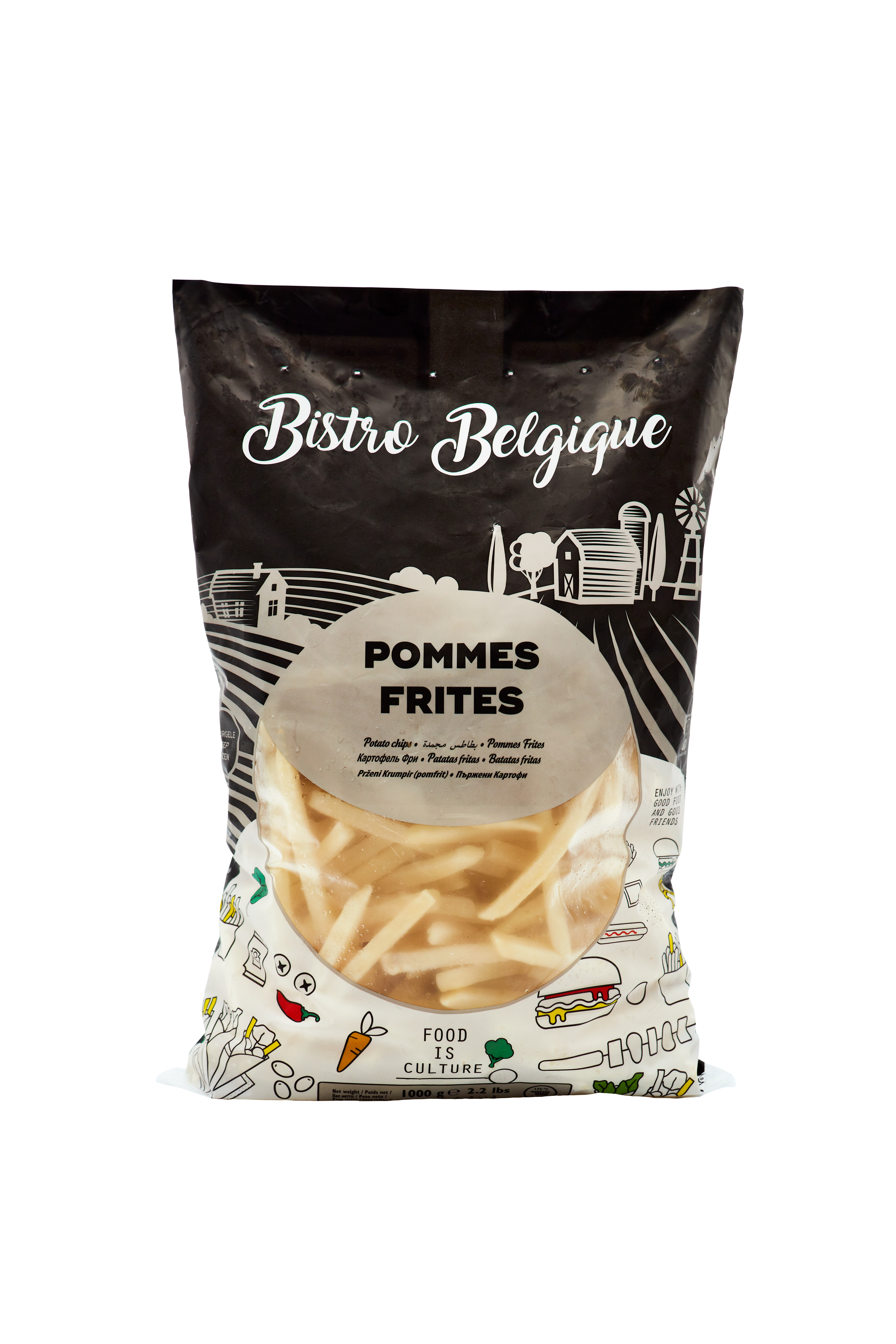 potato cubes packaging Bistro Belgique brand
