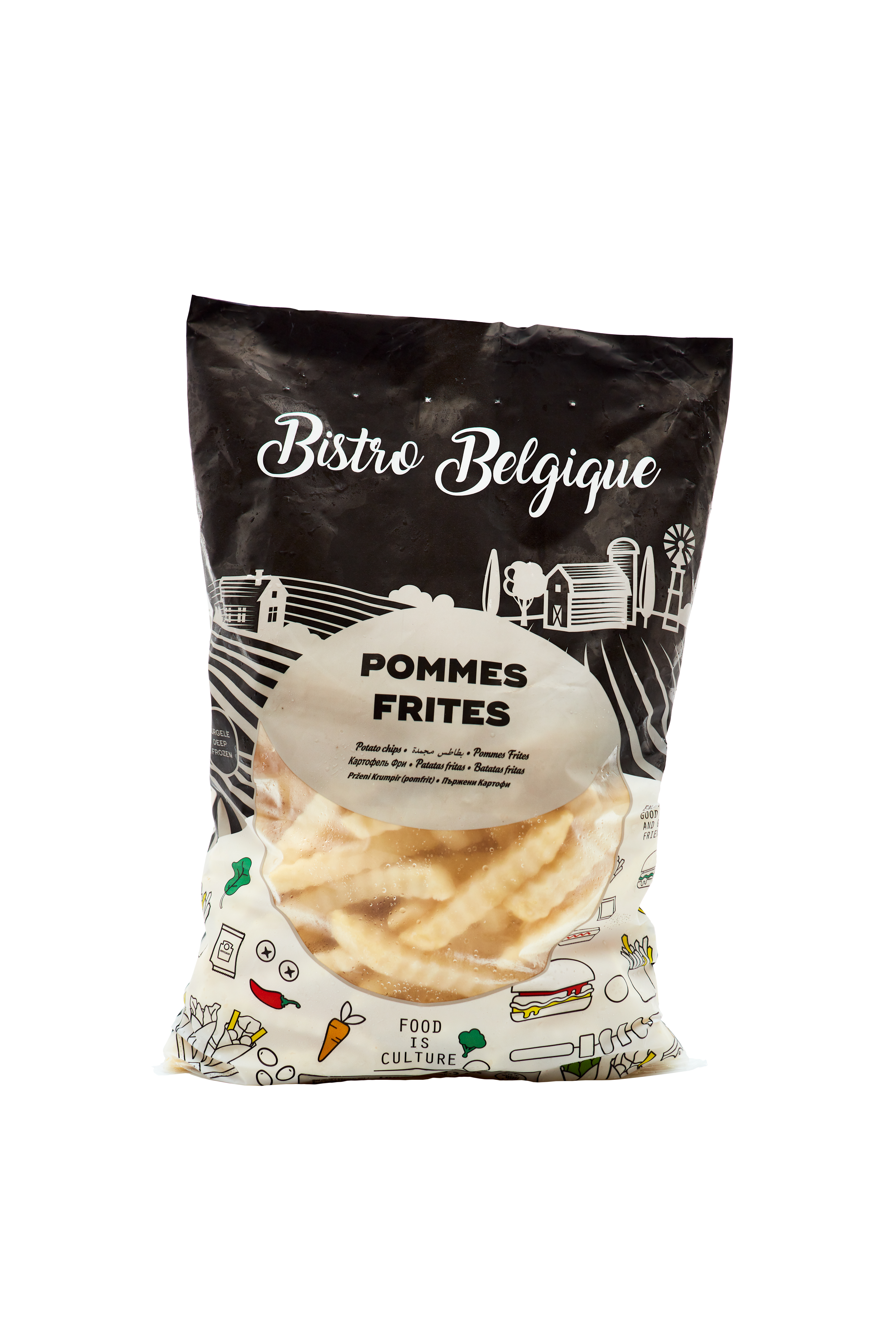 French fries crinkle cut packaging Bistro Belgique brand
