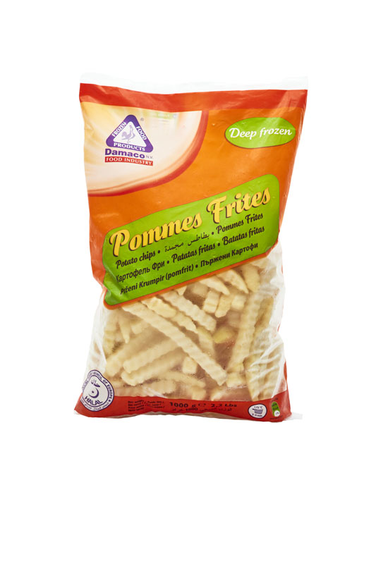 French fries crinkle cut packaging Damaco brand